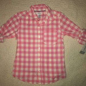 Pink and white gingham shirt from carters